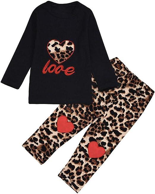 Toddler Kids Baby Girls Outfit Clothes T-shirt Tops+Leopard Pants Dress 2PCS Set