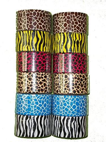 [Bazic Products Animal Print Duct Tape Collection - 12 Rolls Safari Print Duct Tape - 5 Yards each] (Hollywood Fancy Dress)