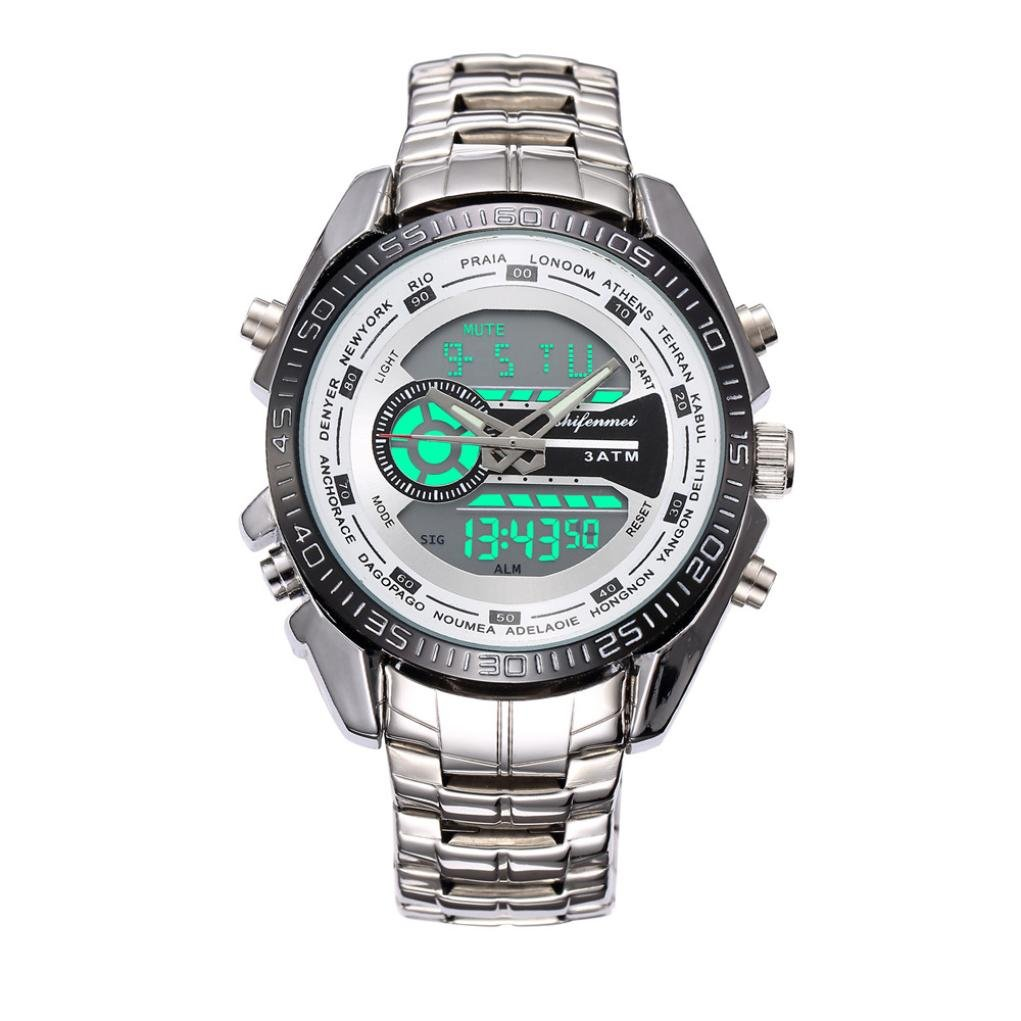 Siviki 2018 Watches Men Luxury Brand Chronograph Men Sports Watches Full Steel Quartz Men's Watch(Waterproof !!!) (Silver)