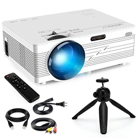 Merisny Mini proyector LED, 2400 lumens compatible con HD 1080p HDMI, USB, VGA, AV, SD, PC, computadora portátil, iPhone, teléfono inteligente ...