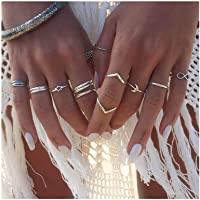 Drecode Boho Ring Set Silver Star Moon Joint Knuckle Hand Rings Bohemia Stackable Midi Hand Jewelry for Women and Girls…
