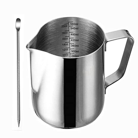 Frothing Pitcher, Liyahog 20oz Stainless Steel Creamer Milk Frothing Pitcher   Measurements Inside   Perfect For Espresso Machines, Milk Frothers, Latte Art (600ml / 20oz) by Liyahog