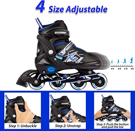 Upgraded Roller Skates for Boys and Girls Protective Gear Included | VyperX Adjustable Inline Skates with Illuminating Wheels Great fit for Casual and Beginner Skaters