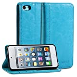 iPod 5 Case, GMYLE(R) Wallet Case Simple for iPod touch 5 - Black Crazy Horse Pattern PU Leather Slim Protective Folio Wallet Stand Case Cover