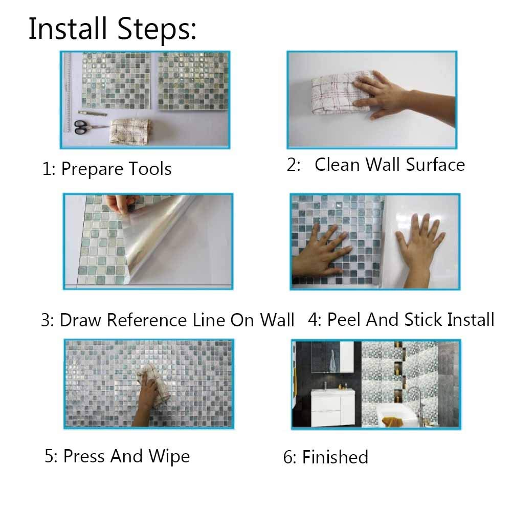 Kitchen Backsplash Smart Tiles Self Adhesive Tiles Peel and Stick 3D Wall Tile Anti Mold Anti Oil PET Wall Decor Backsplash Panels for Kitchen Bathroom White/Light Green/Turquoise Color(10 Tiles) by POPPAP (Image #7)