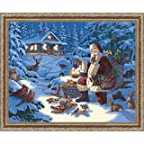 Plaid Creates Paint by Number Kit (11 by 14-Inch), 22065 Woodland Santa with Lights
