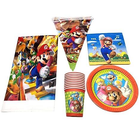 Amazon com: Unove 51Pcs Super Mario Theme Tableware Set