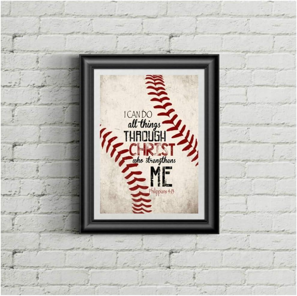 ZSHMG Christian Baseball Vintage Posters Art Prints, Christ Canvas Painting Boy Room Retro Picture Wall Decor-30x40 cm/11.8