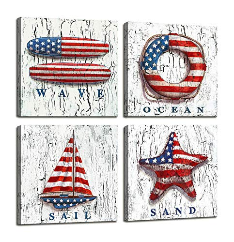 Nautical Decor Beach Wall Art for Bedroom Decorations American Flag Photos Wooden Boat / Lifebuoy / Sailboat Nautical Office decor - 4 Panel Framed Artwork Canvas Pictures For Home Bathroom Wall Decor ()