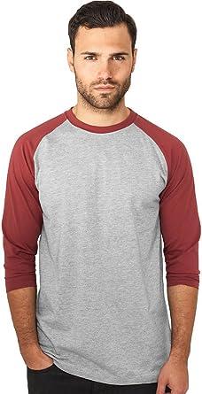 Urban Classics Camisa Para Hombres 3/4 brazos Contraste - varios colores - algodón, gris/rubí, 10% viscosa 90% algodón 10% viscosa\n\t\t\t\t, hombre, XXL: Amazon.es: Ropa y accesorios