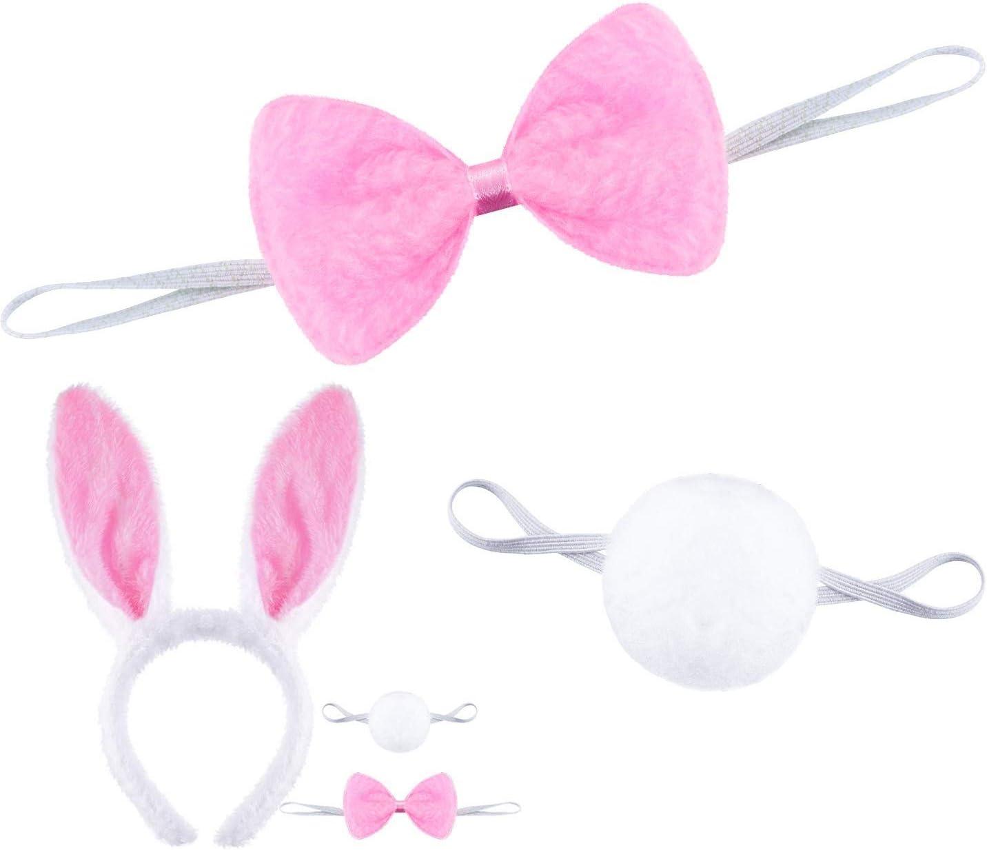 nasuniaoda 4 Sets Plush Bunny Ears Headbands Rabbit Ear Hairband Bow Ties and Tail Set Dress Costume Accessory for Halloween Easter Costume Party
