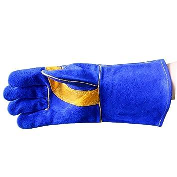 Zgsjbmh Guantes Resistentes al Calor para cocinar, barbaco Cuero Zafiro Azul Soldadura Horno al Aire Libre Microondas Jardinería Guantes Protectores de Alta ...