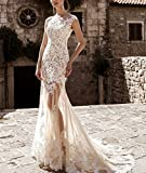 AngelaLove Womens Vintage 2017 Cap Sleeve Detachable Train Tulle Wedding Dress Bridal Gowns