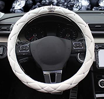 Super PDR Universal Fit Cars Microfiber PU Leather Auto Car Steering Wheel Cover Sport Style Car Covers 15Inch M, Red