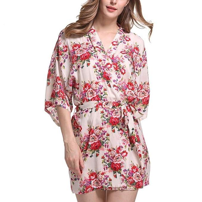 Damas Kimono Vintage Clásico Impresión Floral Albornoz Mujeres Noche Calentamiento Casuales Vestido De Fiesta Vestido De Boda Batas Camisón: Amazon.es: Ropa ...