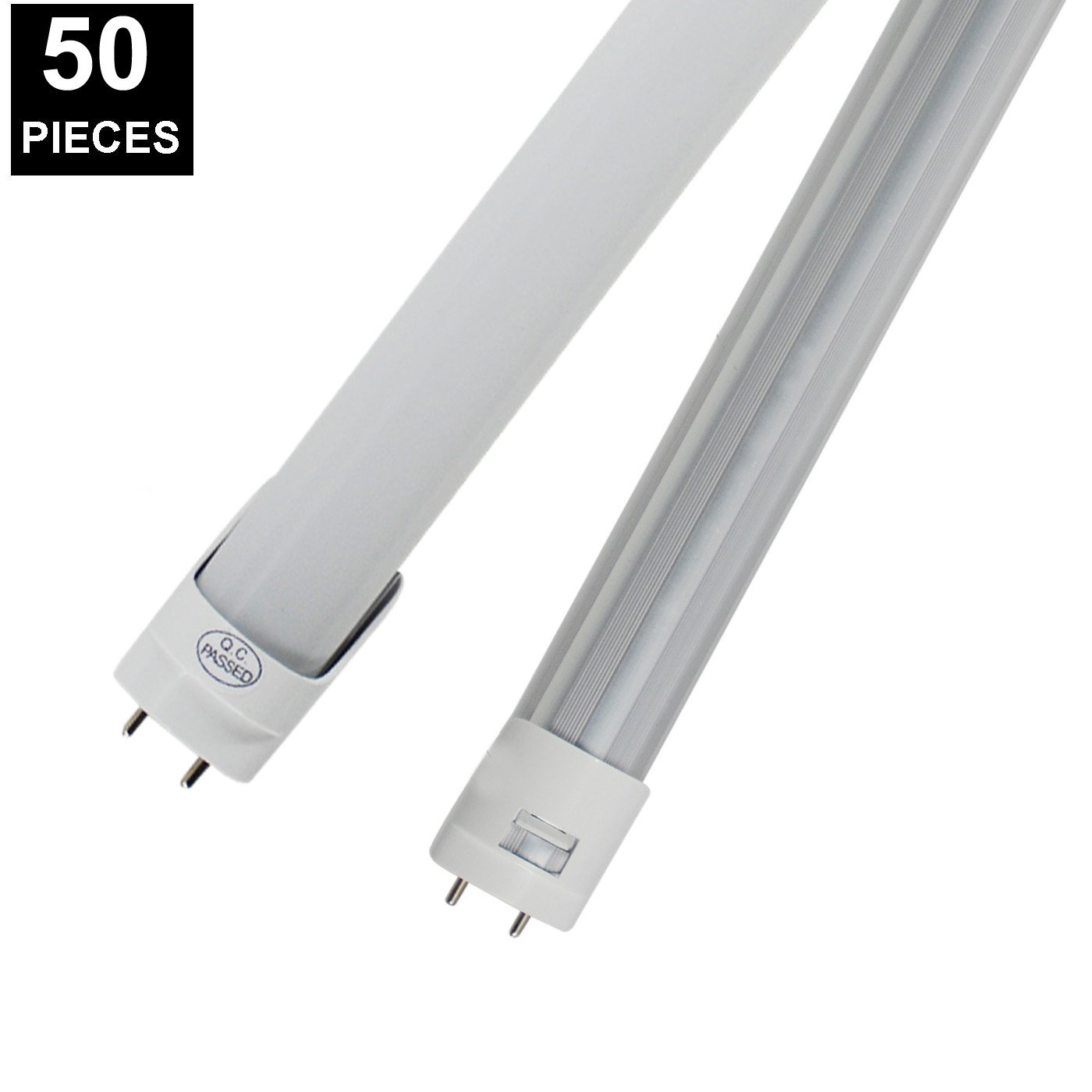 (US STOCK)CNSUNWAY 4FT G13 LED Tube, 48'' G13 Two Pin Dual Row Lighting Bulbs, 6000K Cool White with Clean Lens, AC85-265V, Work Without Ballast(50 Pack)
