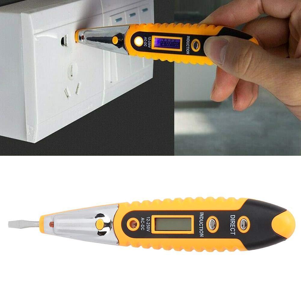 Jaune d/étecteur de tension AC//DC 12-250V pour d/étecter les courants alternatifs et CC de 12-250V et ligne 0 phase de ligne d/étecteur de tension Led avec veilleuse nocturne Crayon de test