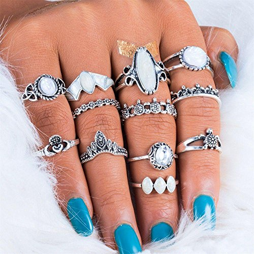 Price comparison product image Fuleewoo 12PCS / Set Women Finger Boho Jewelry Tribal Ethnic Finger Rings Ring Set Fire Opal