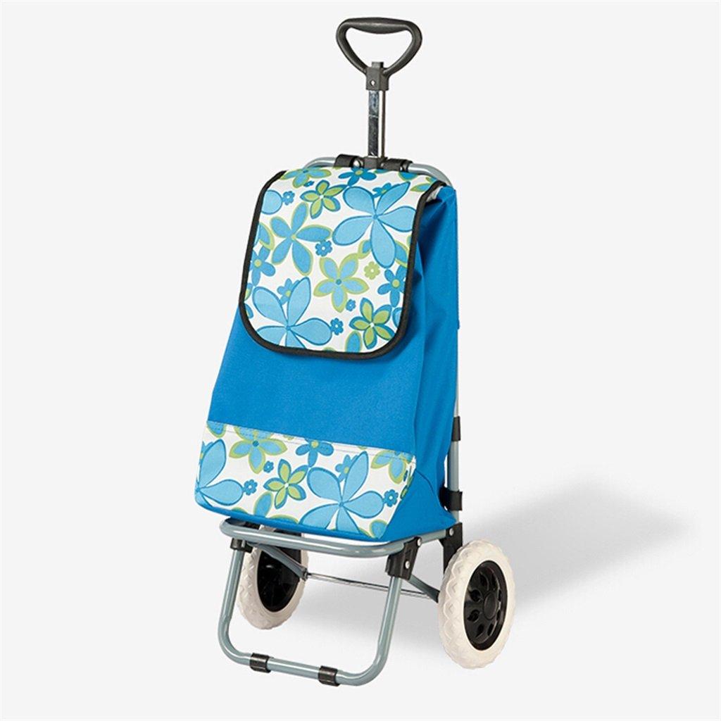 Handcart Trolley shopping cart folding cart portable luggage trolley waterproof bag trolley cart luggage rider handle orange blue optional (Color : Orange)