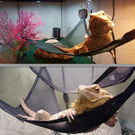 Breathable Mesh Lizard Hammock iFlymisi 2 Pack of Reptile Hammock Set Lounger /& Ladder Accessories Set for Large /& Small Bearded Dragons Geckos Lizards or Snakes