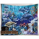 KRWHTS Wall Hanging Tapestry With Underwater World Blue Dolphin Printed for Child Nursery Living Bed Room Bathroom Dorm Home Decor 150130cm(60''52'')