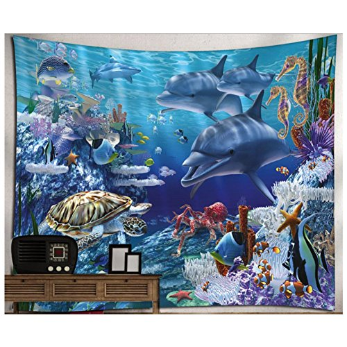 - KRWHTS Wall Hanging Tapestry With Underwater World Blue Dolphin Printed for Child Nursery Living Bed Room Bathroom Dorm Home Decor 150130cm(60