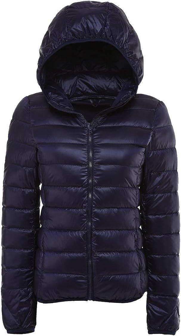 LANBAOSI Women Ultra Light Weight Packable Puffer Jacket with Hoodie Down Jacket Coat