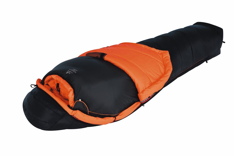 ALEXIKA Schlafsack Alpha 1+2, rechte Reißverschluss, schwarz / orange, 100(Breite oben)x235(Länge) x70(Breite unten), 8208.1017R