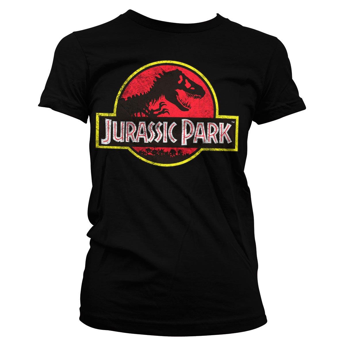 Oficialmente Licenciado Jurassic Park Distressed Logo Mujer Camiseta