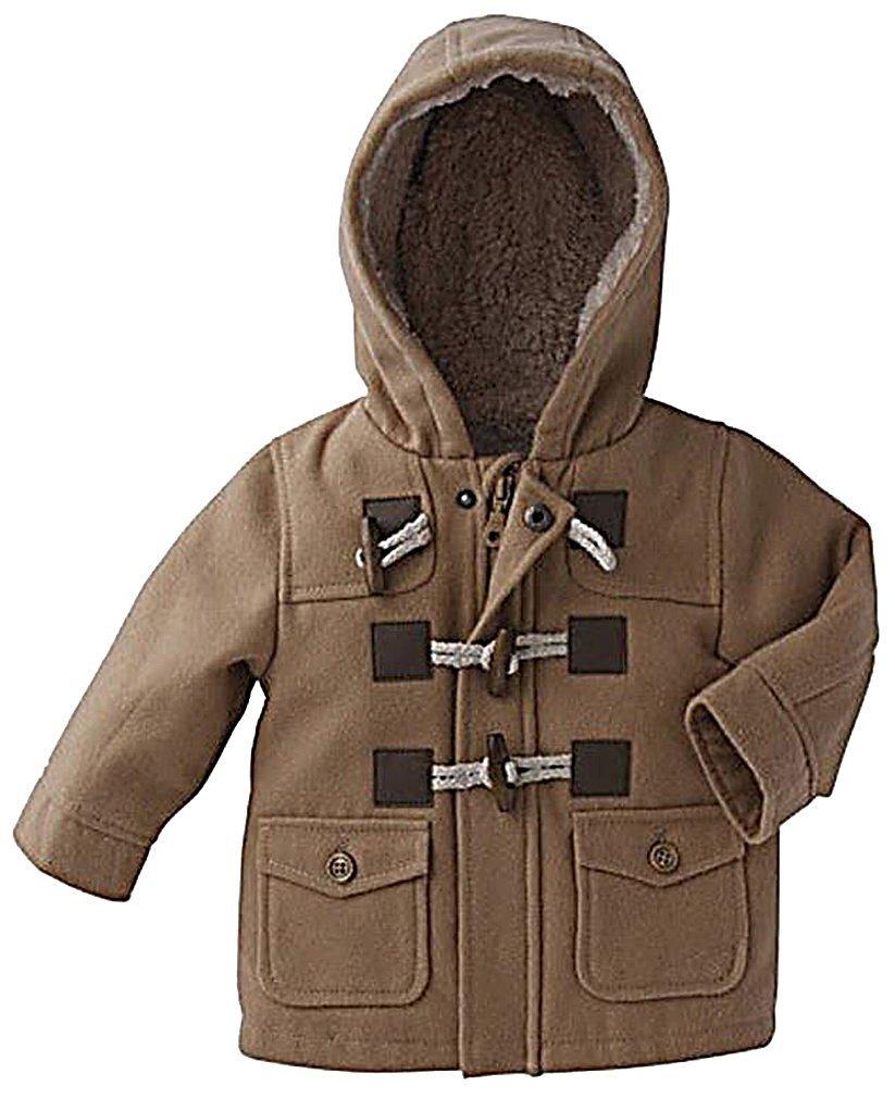 Sweety, Boys Hooded Jacket Lightweight Soft Warm Wool Blend Trench Coat,Khaki 2T