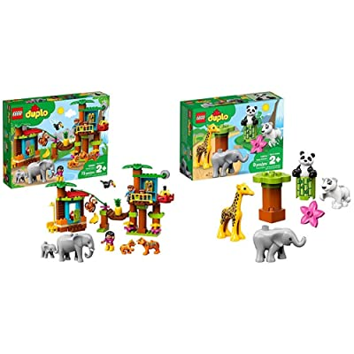 LEGO DUPLO Town Tropical Island 10906 Building Bricks, New 2020 (73 Pieces) & DUPLO Town Baby Animals 10904 Building Bricks, New 2020 (9 Pieces): Toys & Games