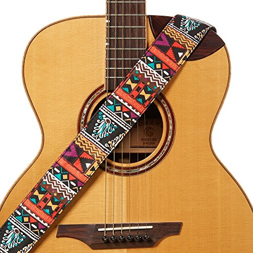 Amumu Ethnic Folk Guitar Strap Orange Denim for Acoustic, Electric and Bass Guitars with Strap Blocks & Headstock Strap Tie - 2