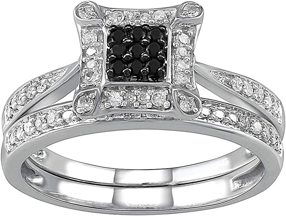 Black Treated Plus Real Diamond Ring for Women in 925 Sterling Silver Engagement Wedding and Promise Ring Band (I-J Color, I2 I3 Clarity) by Pipa Bella