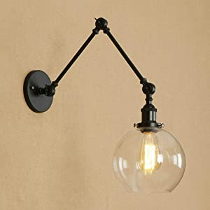 KWOKING Lighting Industrial Wall Sconces Adjustable Swing Arm Wall Light Lamp Fixture with Clear Glass Shade for Bedroom Living Room Restaurant Barn Warehouse Black
