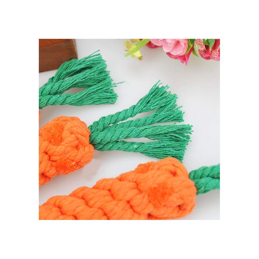 Yi-Achieve Cuerda del Chew del Perro de Juguete de la Zanahoria Puppy Dog Chew Toys Cuerda de algod/ón Dental Teaser Limpieza de los Dientes de Juguete para Perros peque/ños-Medios para Mascotas 1pc