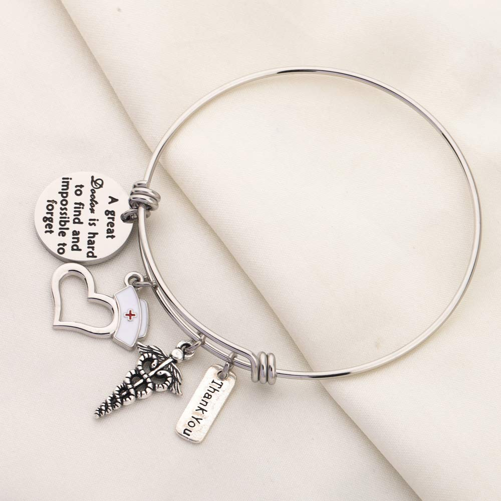 KUIYAI Doctor Appreciation Bracelet A Great Doctor is Hard to Find and Impossible to Forget Charm Bangle Thank You Doctor Gift