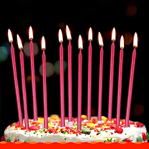 Enjoyable Amazon Com Xnova 12 Count Long Thin Red Birthday Cake Candles In Funny Birthday Cards Online Overcheapnameinfo