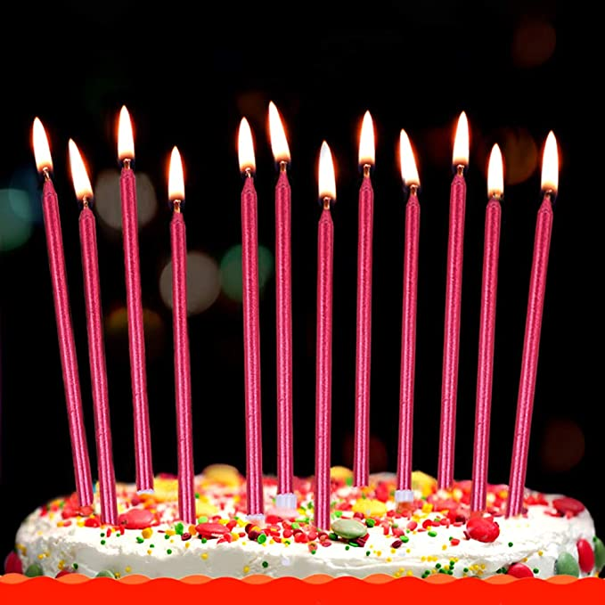 XNOVA 12 Count Long Thin Purple Birthday Cake Candles in Holders for Birthday We