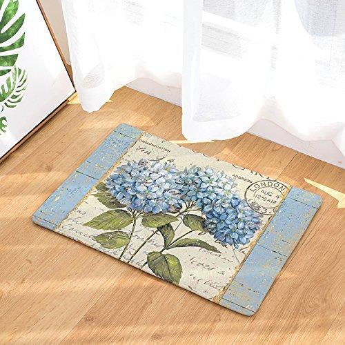 YQ Park Blue Flowers Postcard Retro Printing Door Mat Floor Mat Door Carpet Indoor/Outdoor Mat Welcome Door Mat