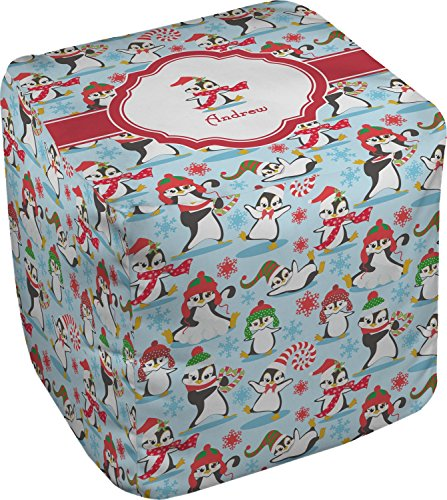 RNK Shops Christmas Penguins Cube Pouf Ottoman - 13'' (Personalized) by RNK Shops