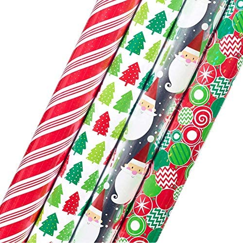 Kirkland Signature 4 Roll Christmas Gift Wrap 180 sq ft Santa List//Gold//Holy//Gre