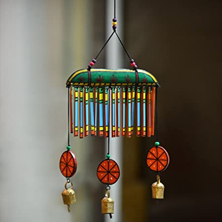 Exclusivelane Wooden Multicoloured Handpainted & Handmade Decorative Hanging -Wind Chimes Hanging Decorative Item Home D�cor Pieces Wind Chimes For Balcony Wooden Wind Chimes Wind Chimes For Home Decorative Hanging