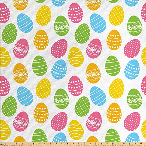 Ambesonne Easter Fabric by The Yard, Greeting The Colorful and Fun Spring Season April Holiday Celebration with Food, Decorative Fabric for Upholstery and Home Accents, 1 Yard, Multicolor