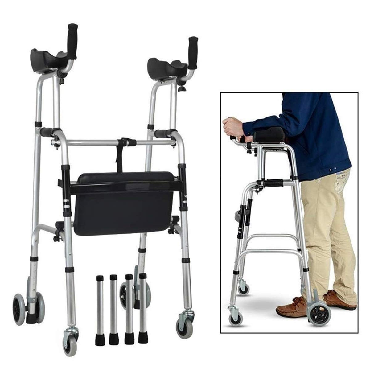 Walking Frame with Wheels Extra Large, Lightweight Height Adjustable Walking Frame with Armrests Auxiliary Walking Safety Walker (Color : with Waterproof Padded)
