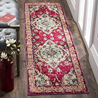 Safavieh Monaco Collection MNC243D Vintage Oriental Bohemian Pink and Multi Distressed Runner (2'2' x 16')
