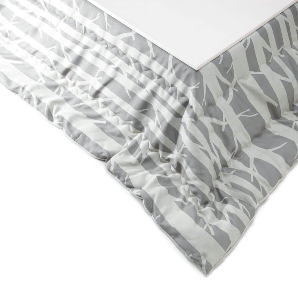 [ホワイト] 折りたたみ こたつ 80x80cm 正方形 こたつ本体+[シラカバ]こたつ布団 2点セット  シラカバ B076K5SJ2L