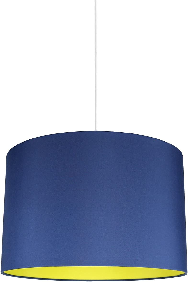 Urbanest Marie Duo Color Shade Pendant with Hanging Light Kit, Navy Blue Cotton with Yellow Lining, 15 1 2-inch Diameter, 10-inch Height