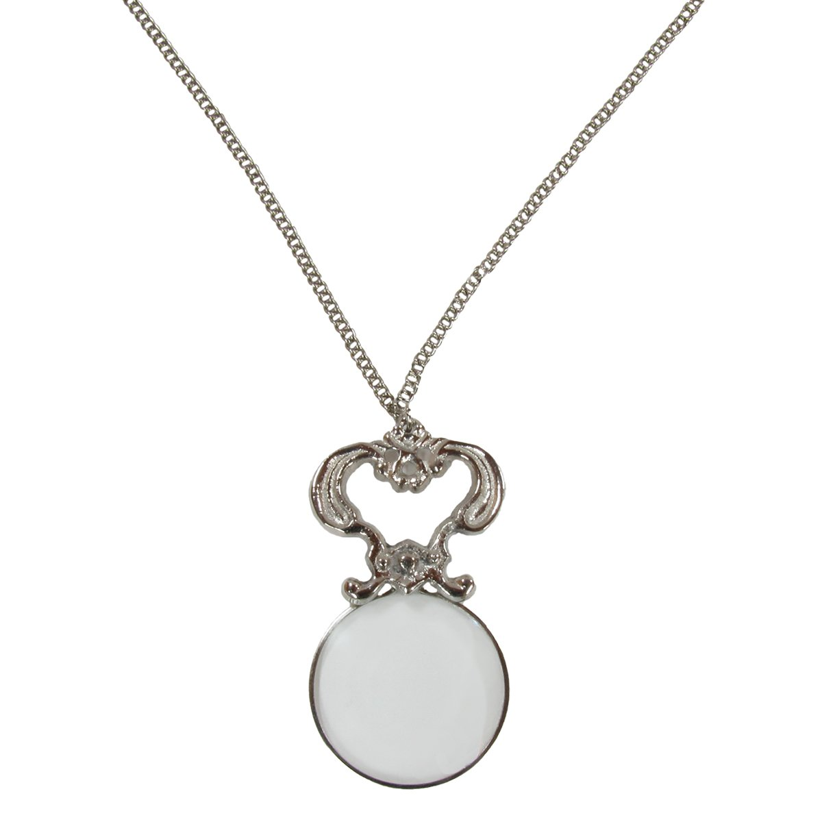 30'' Silver Pendant Necklace Magnifier Glass Magnifying Lens