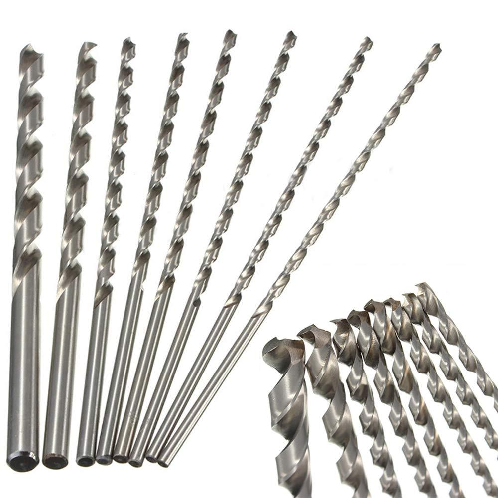 8 Pcs 200mm Extra Long Twist Drill Bits for Steel Straight Shank Tool Sets Wood Plastic and Aluminum, Plastic, Jewelry 2mm - 7mm