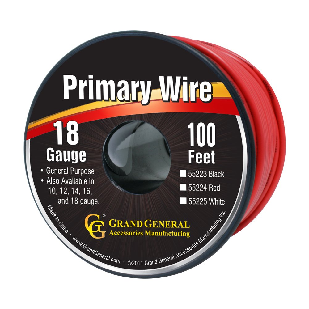 Grand General 55221 Red 18-Gauge Primary Wire